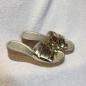 Donald J Pliner Sheena 2 Gold Cork Wedge Shoes 9N